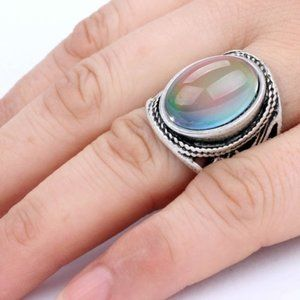 Mood Ring Silver Large Oval Floral Scroll 7